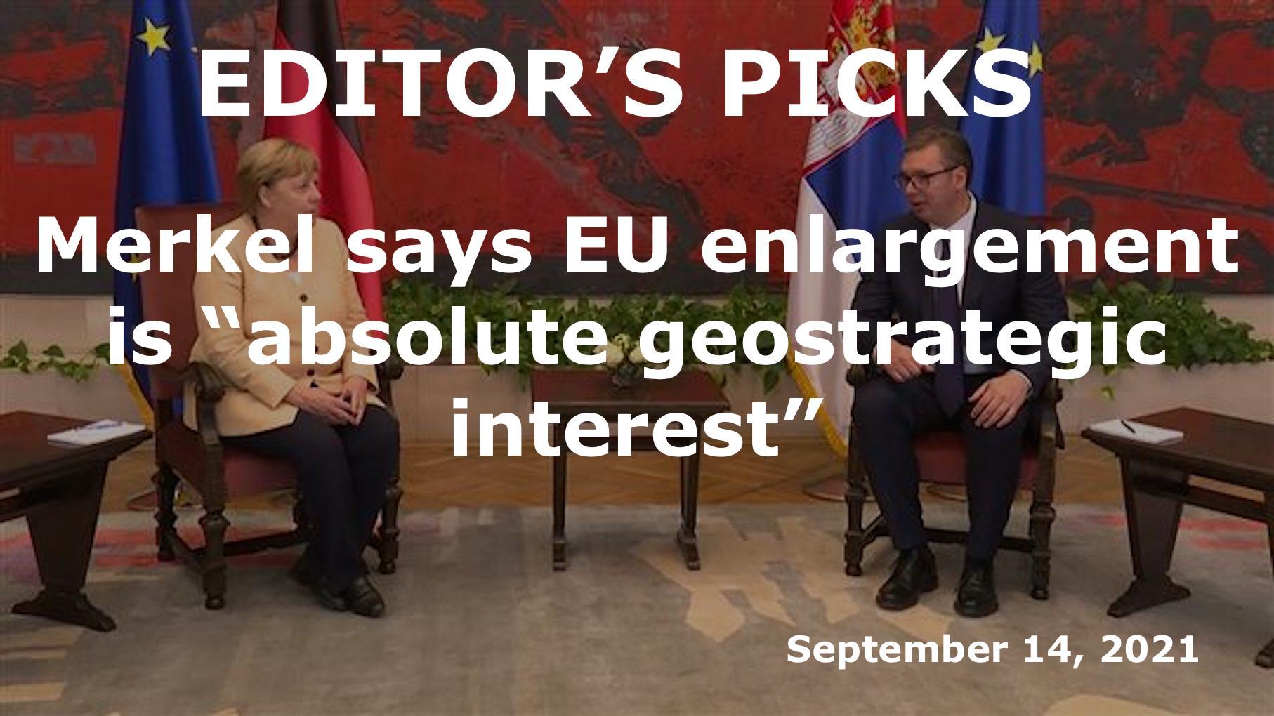 "Merkel says EU enlargement to Western Balkans is ""absolute geostrategic interest"""